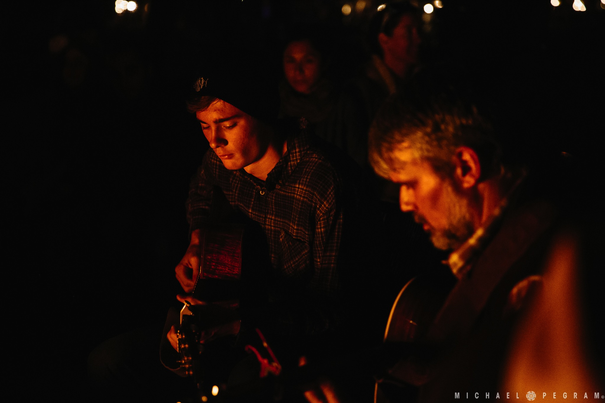 Kyle Ledson and Bo Carper hosting the Campfire Jam at Camp Deep End 2018.  Photo by Michael Pegram